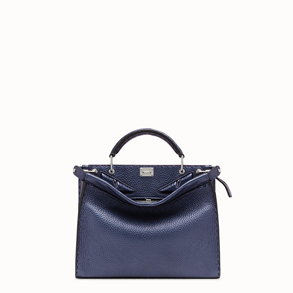 FENDI MINI PEEKABOO FIT - Borsa in pelle blu - vista 1 thumbnail piccola