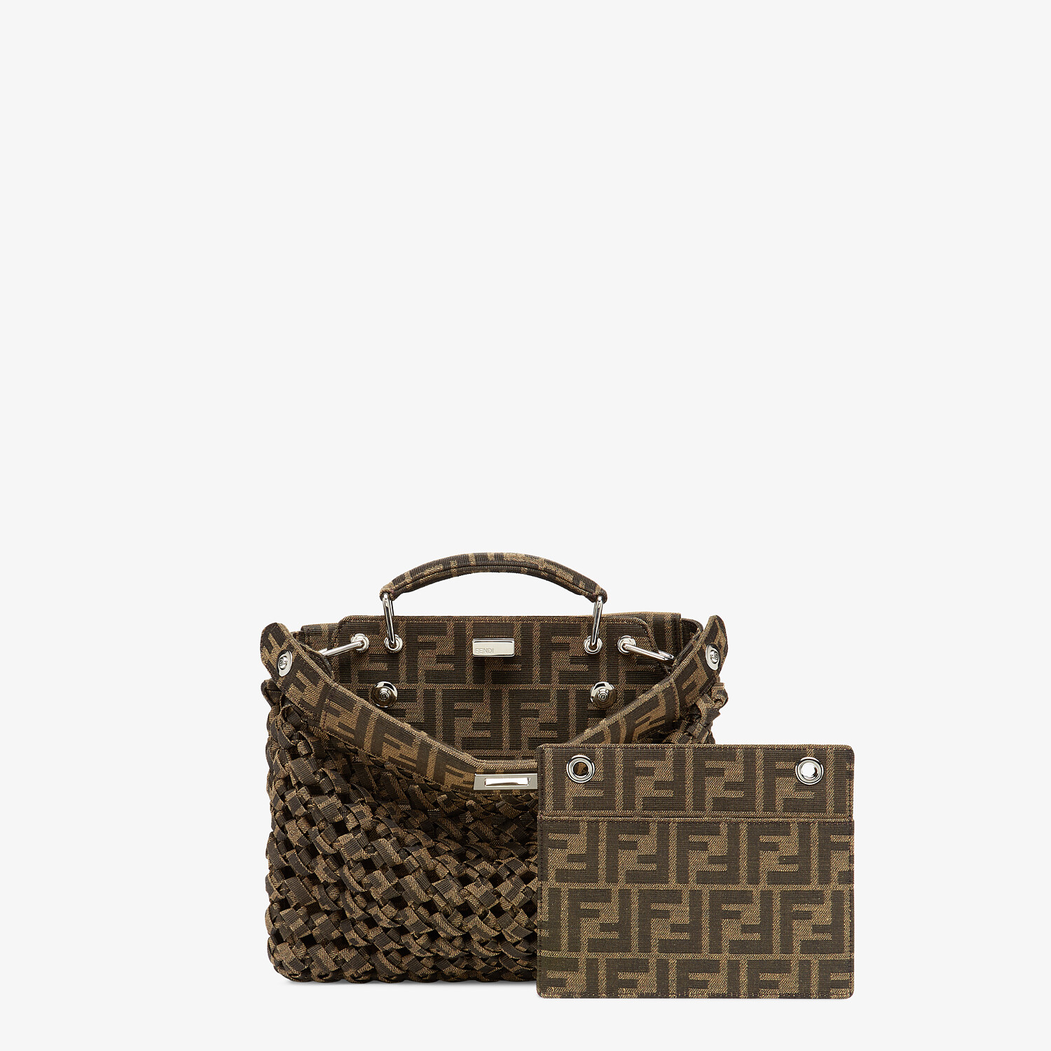 FENDI PEEKABOO ISEEU MINI - Brown fabric bag - view 2 detail