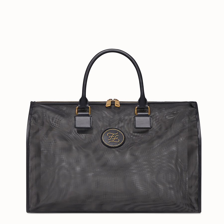 FENDI TRAVEL BAG - Large black mesh-fabric bag - view 1 detail