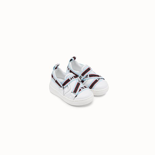 FENDI SLIPON - Sneaker in pelle bianca con nastro multicolor per primi passi - vista 1 thumbnail piccola
