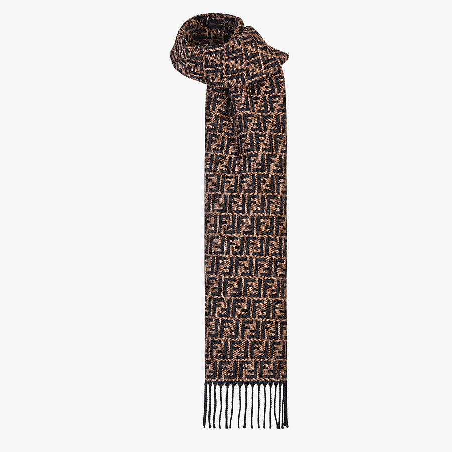 FENDI STOLE - Brown wool scarf - view 2 detail