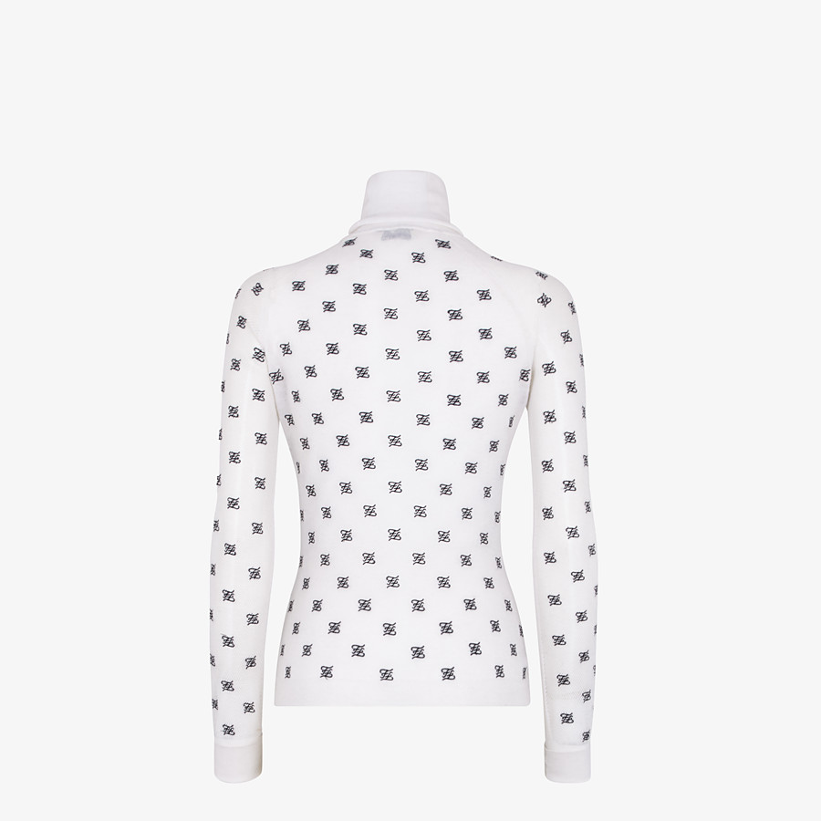 FENDI PULLOVER - White silk and wool jersey - view 2 detail