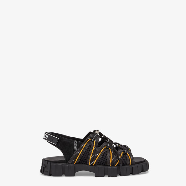 Black leather and tech mesh sandals