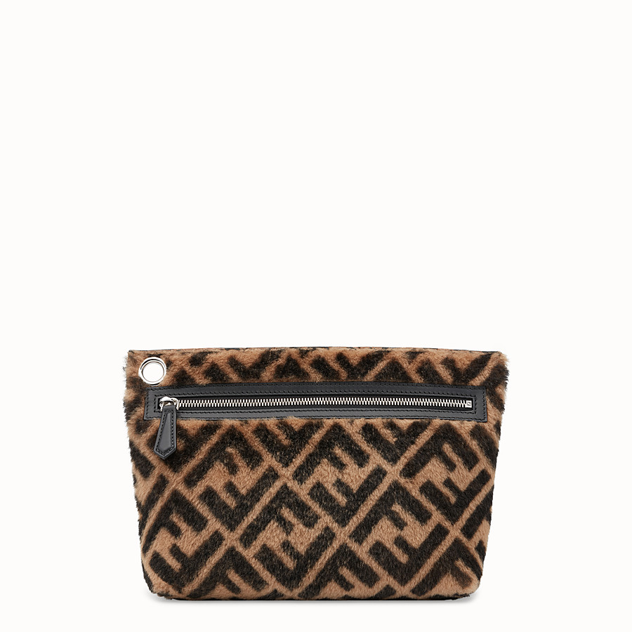 FENDI LARGE PYRAMID POUCH - Multicolor shearling pouch - view 1 detail