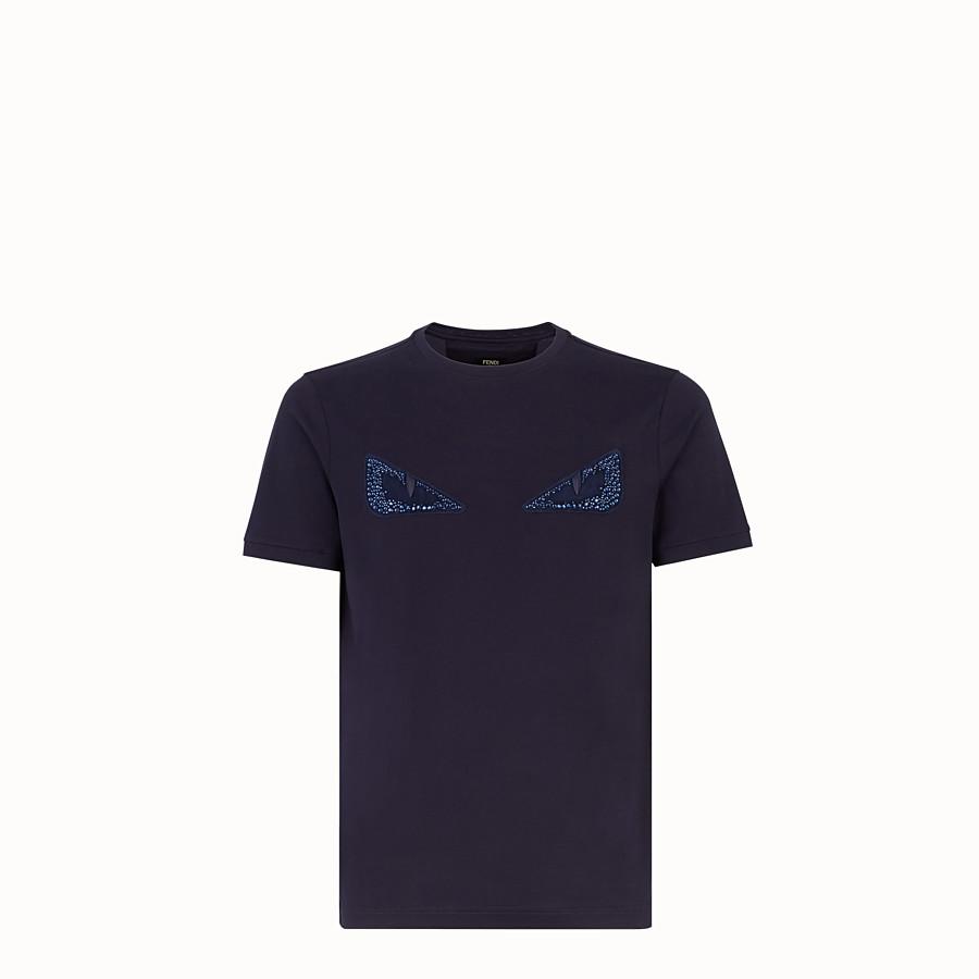 FENDI T-SHIRT - Blue cotton T-shirt - view 1 detail