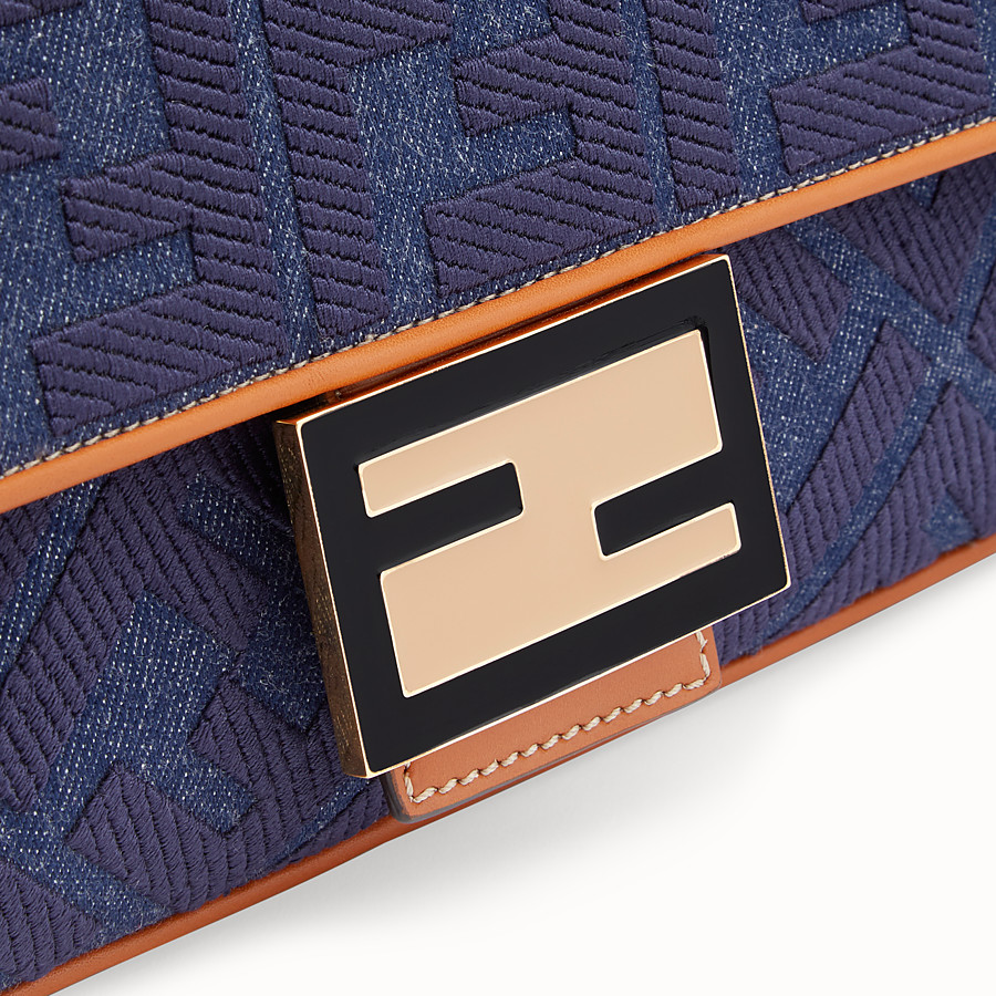 FENDI BAGUETTE LARGE - Blue denim bag - view 6 detail