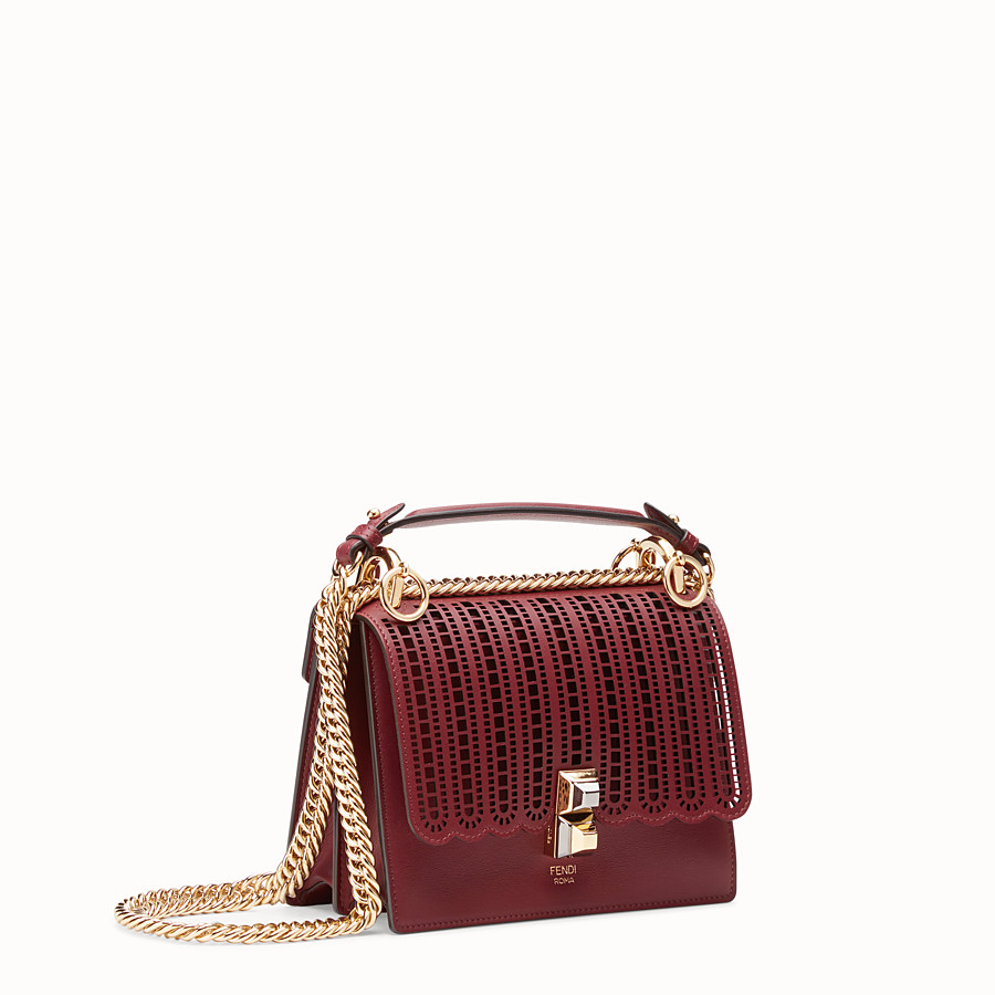 FENDI KAN I SMALL - Maroon leather mini-bag - view 2 detail