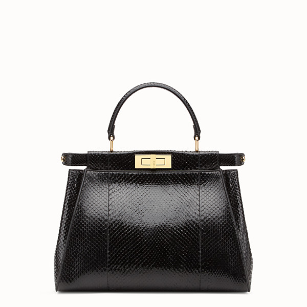 FENDI PEEKABOO REGULAR - Black python handbag. - view 1 small thumbnail