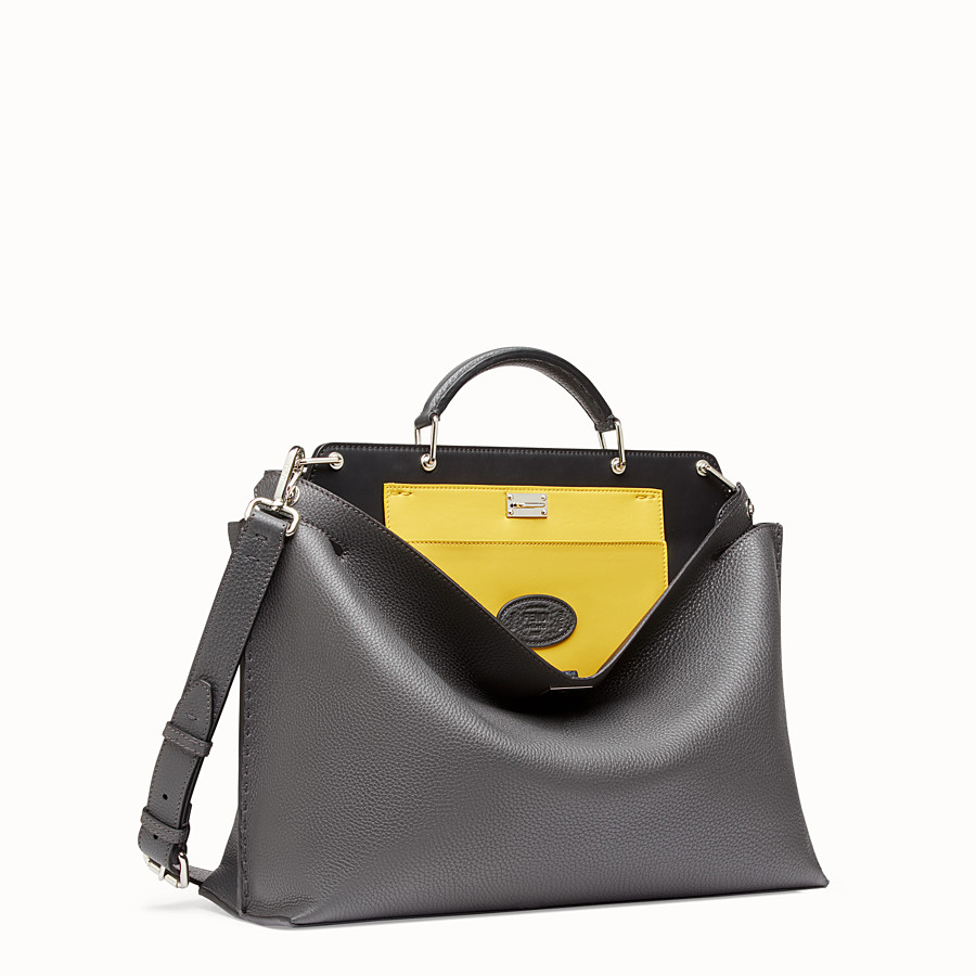 FENDI PEEKABOO ICONIC ESSENTIAL - Grey leather bag - view 2 detail