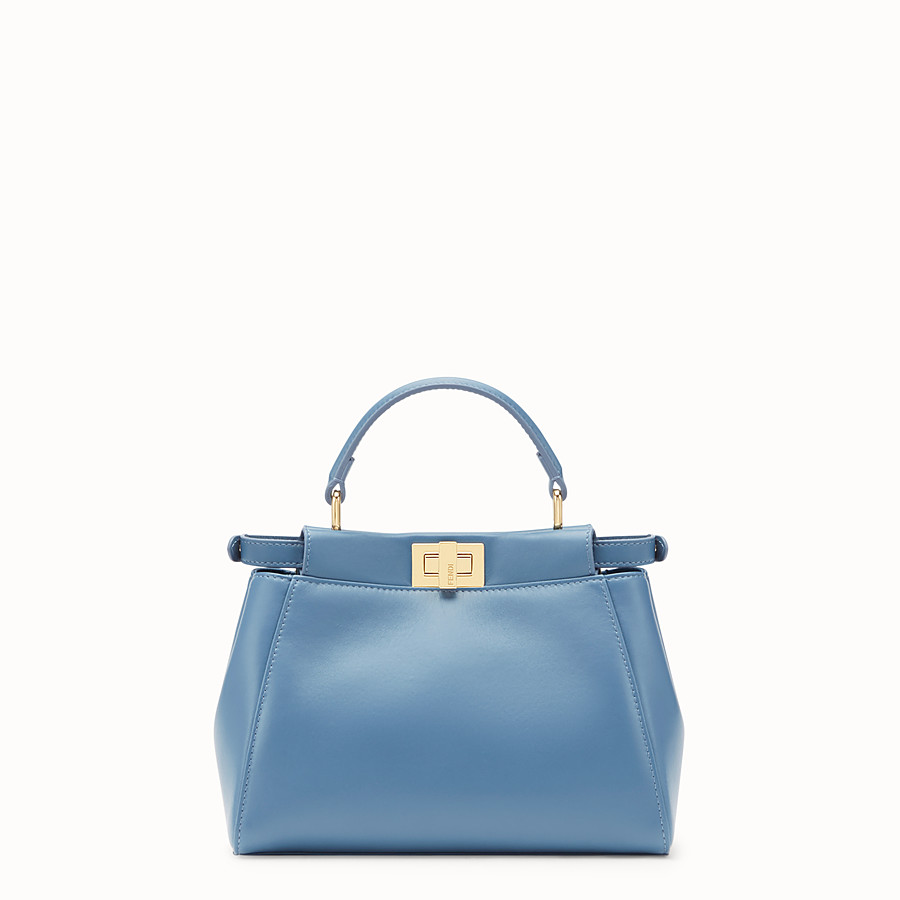 FENDI PEEKABOO ICONIC MINI - Pale blue nappa leather bag - view 3 detail