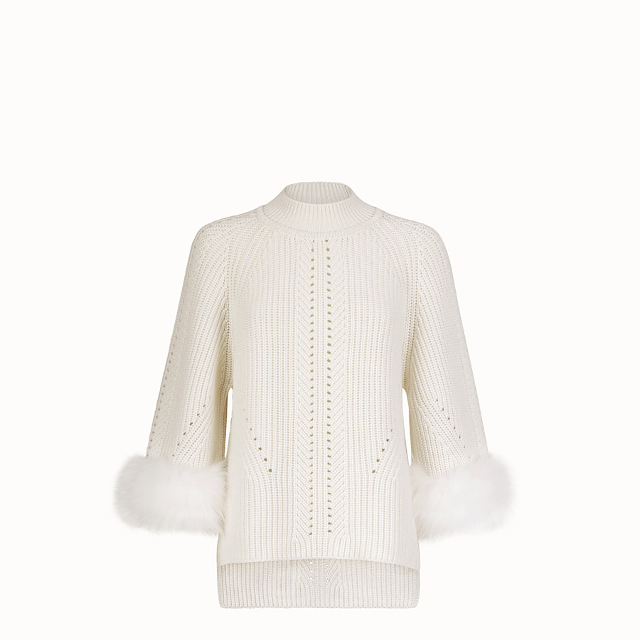 FENDI PULLOVER - White cashmere sweater - view 1 detail