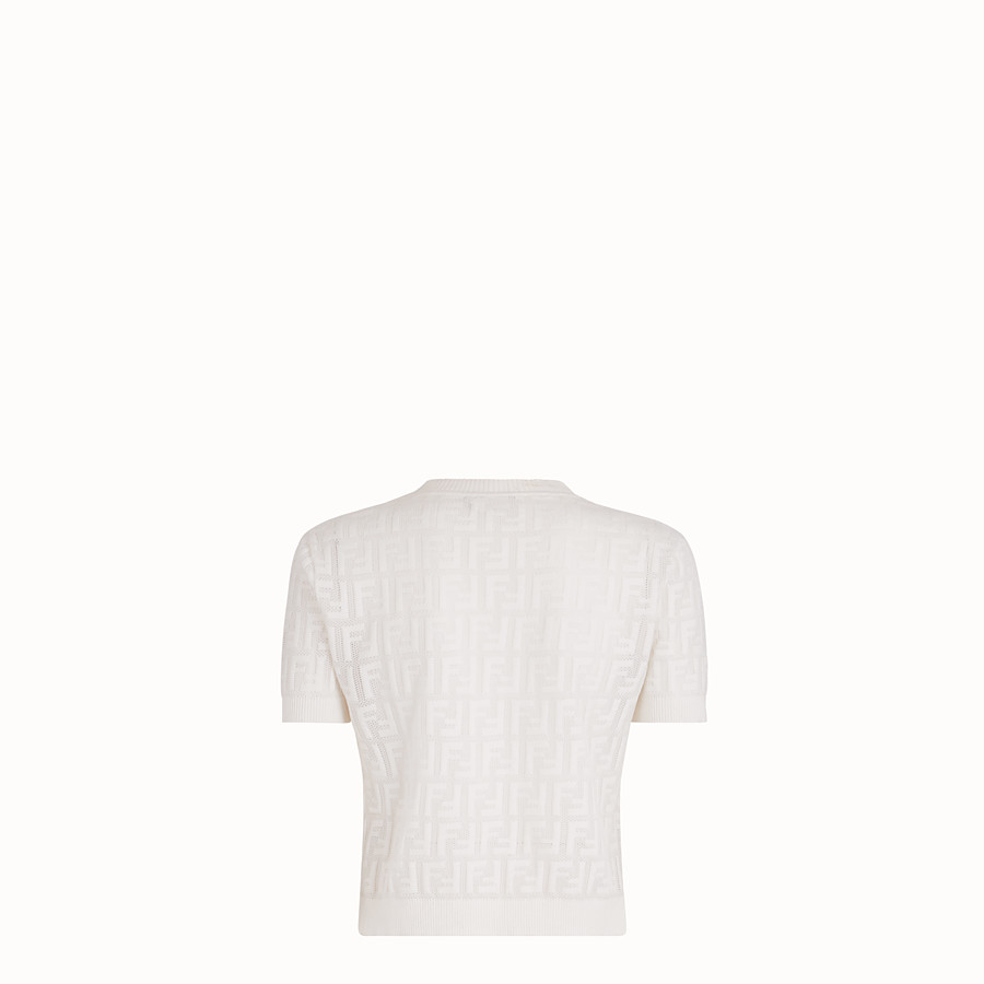 FENDI MAGLIA - Maglia in cotone bianco - vista 2 dettaglio