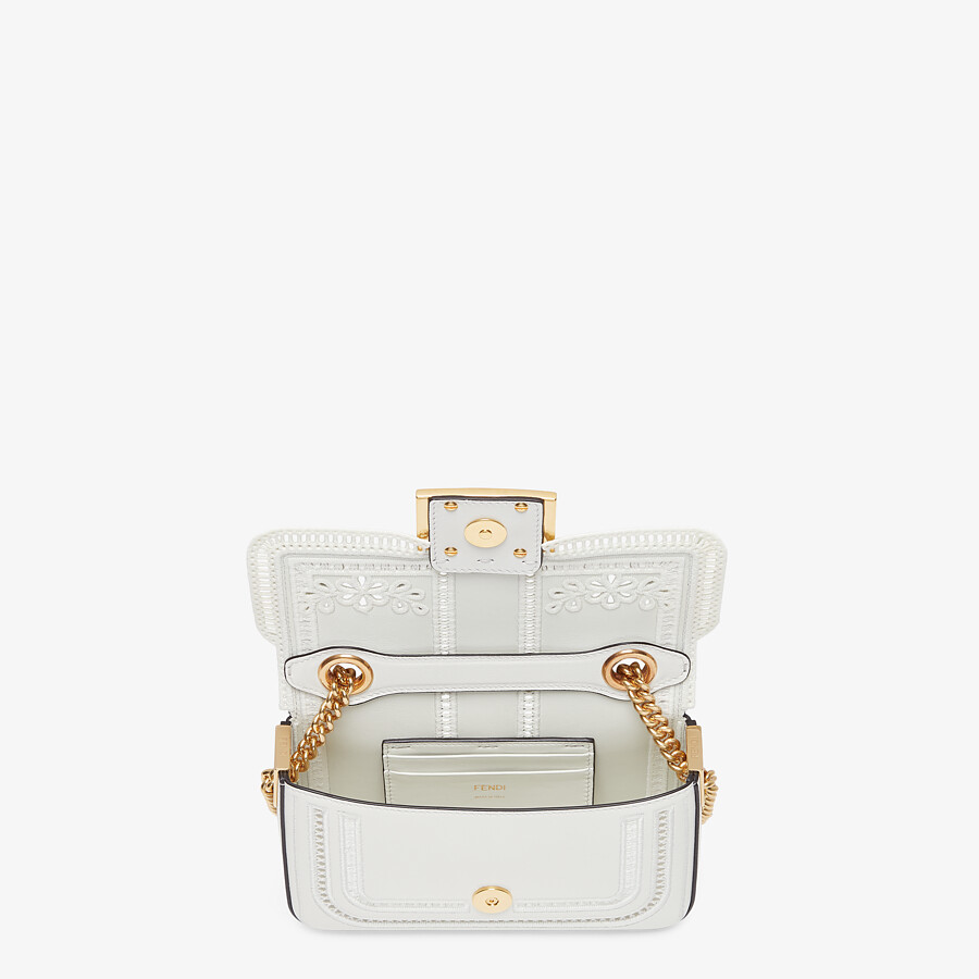 FENDI MINI BAGUETTE CHAIN - Embroidered white leather bag - view 4 detail