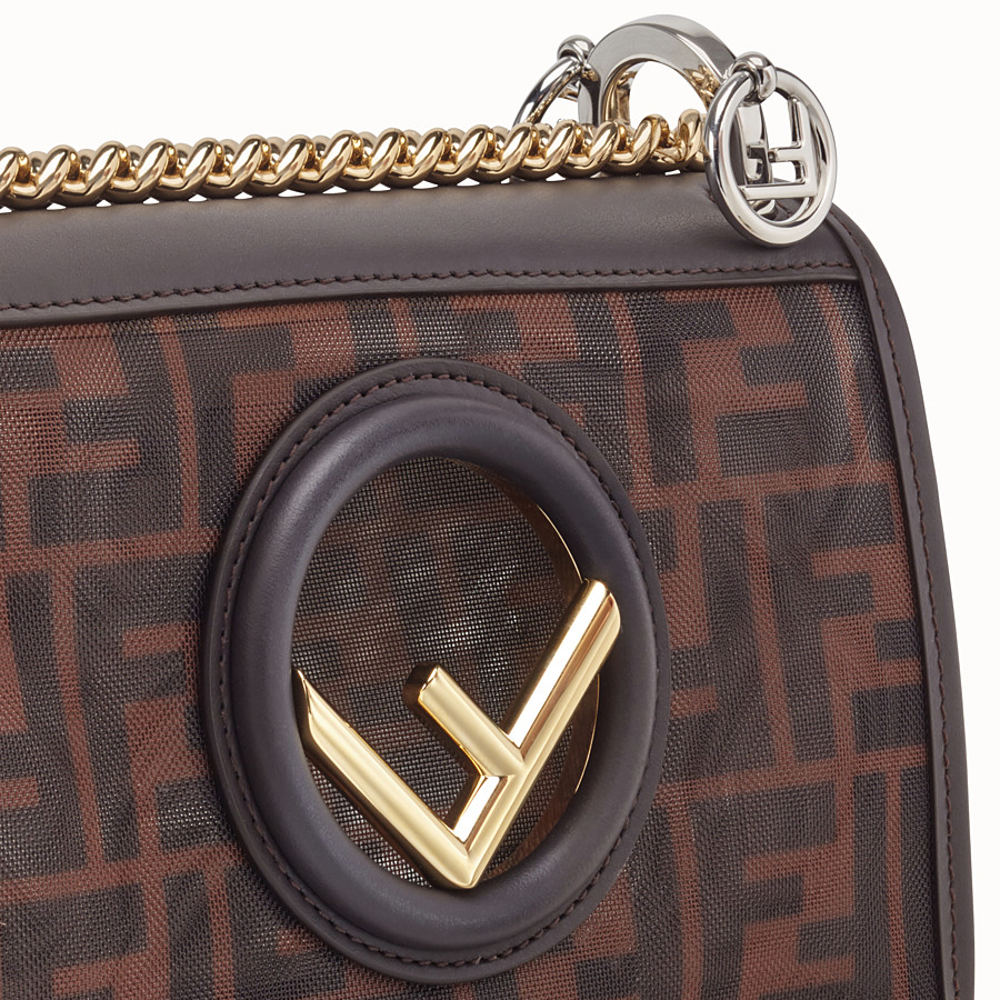 FENDI KAN I F SMALL - Brown tech mesh mini bag - view 6 detail