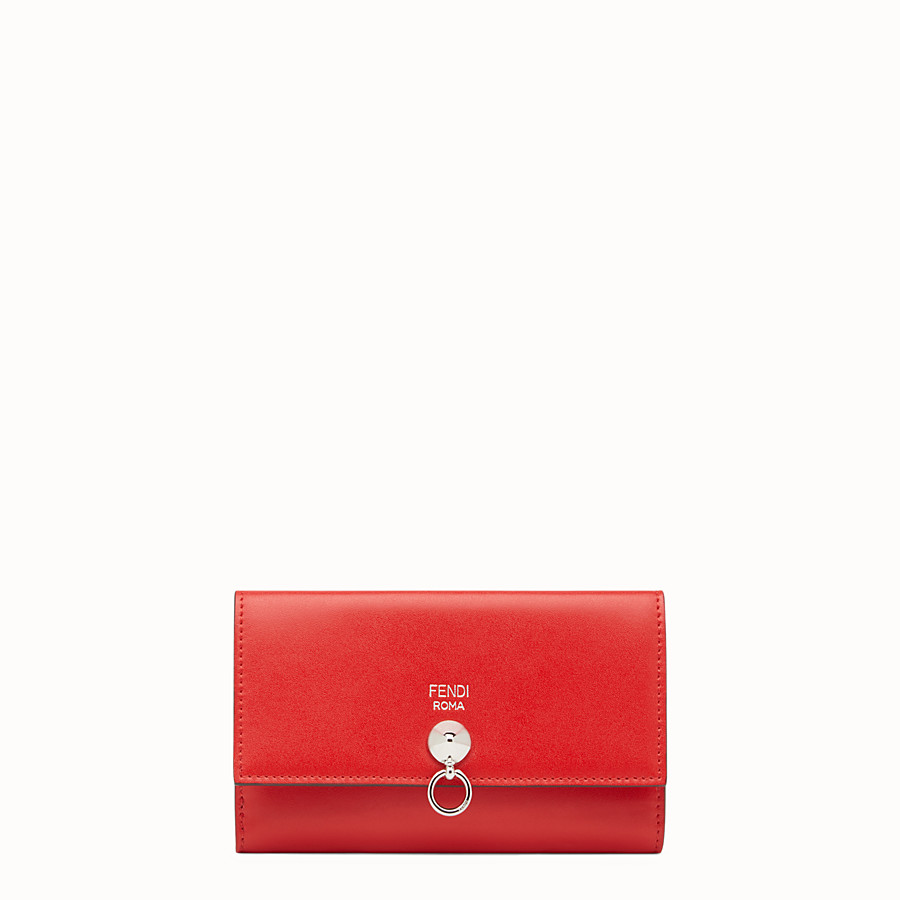 FENDI CONTINENTAL MEDIUM - Slim continental wallet in red leather - view 1 detail
