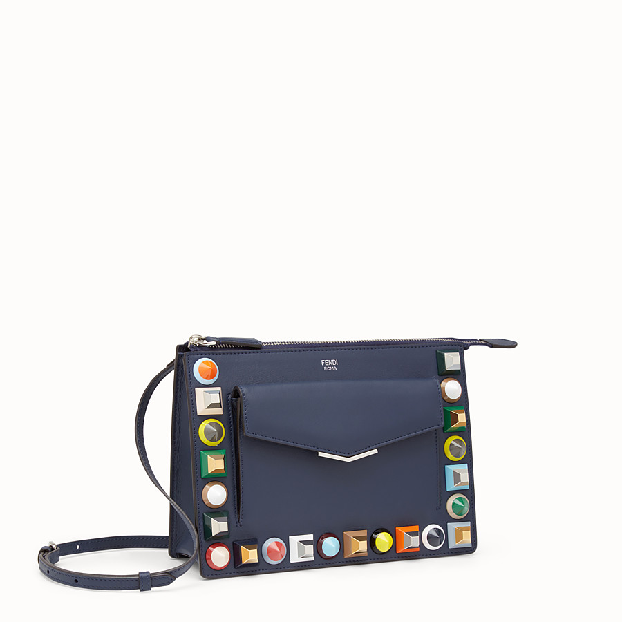 FENDI MINI POUCH - Studded pouch in blue leather - view 2 detail