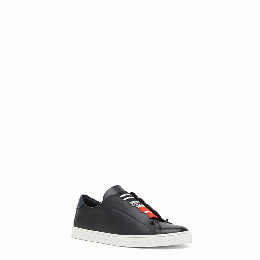 FENDI SNEAKERS - Black stretch leather slip-ons - view 2 detail