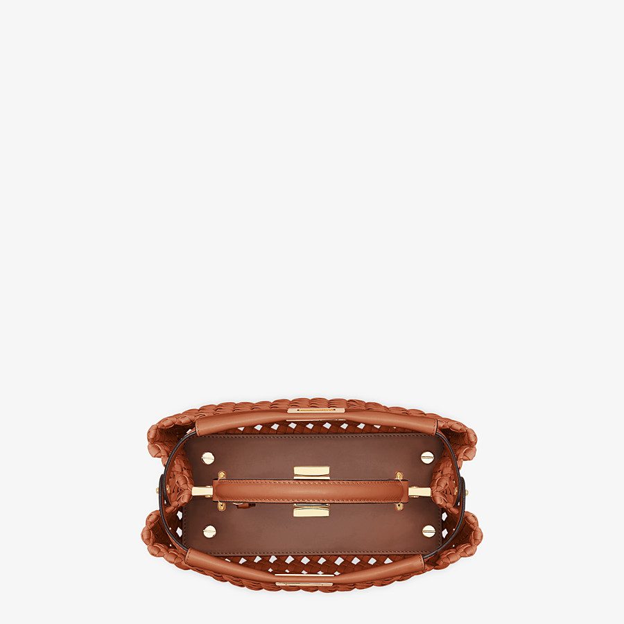 FENDI PEEKABOO ICONIC MINI - Brown leather interlace bag - view 5 detail