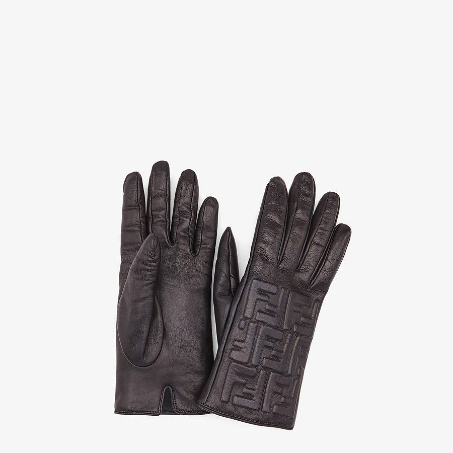 FENDI GLOVES - Gloves in black nappa leather - view 1 detail