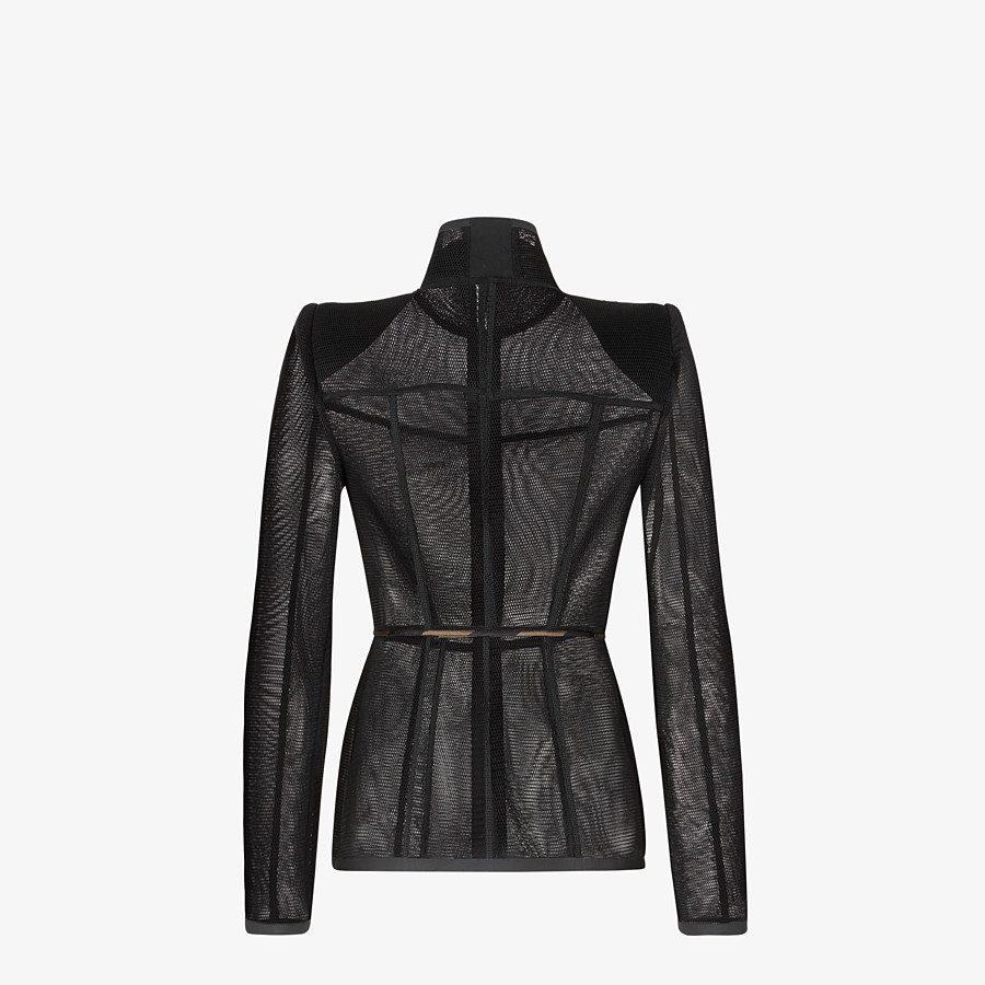 FENDI JACKET - Black micromesh jacket - view 2 detail