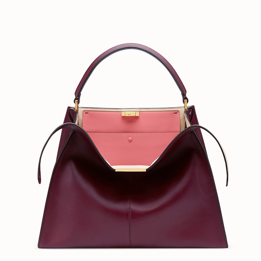 FENDI PEEKABOO X-LITE LARGE - Burgundy leather bag - view 1 detail