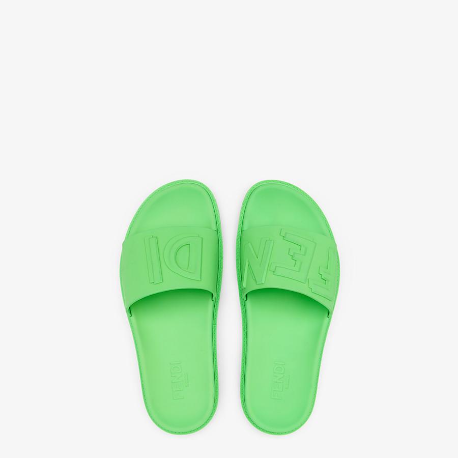 FENDI SLIDES - Fussbetts in green rubber - view 4 detail