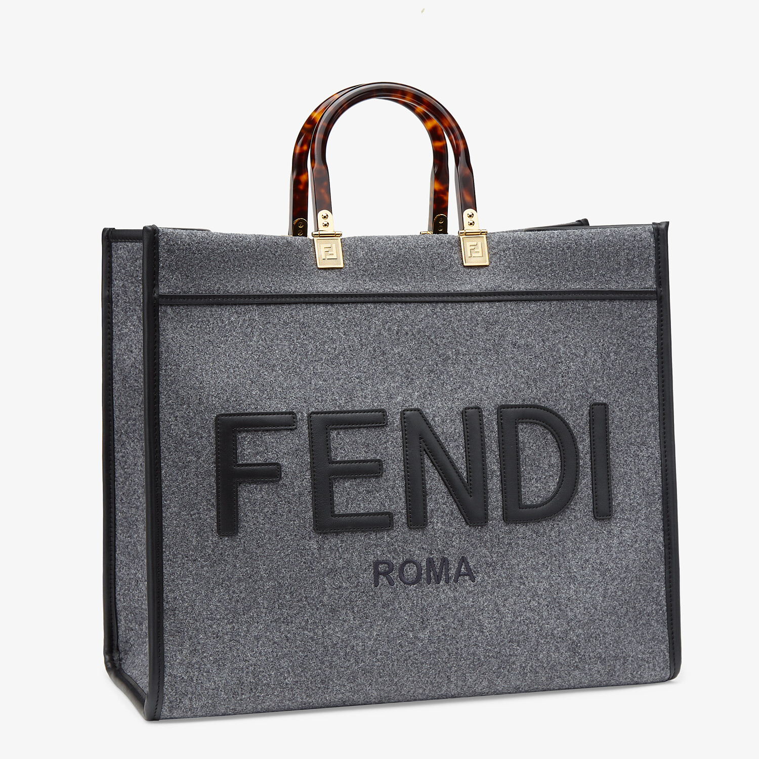 FENDI FENDI SUNSHINE LARGE - Gray flannel shopper - view 2 detail