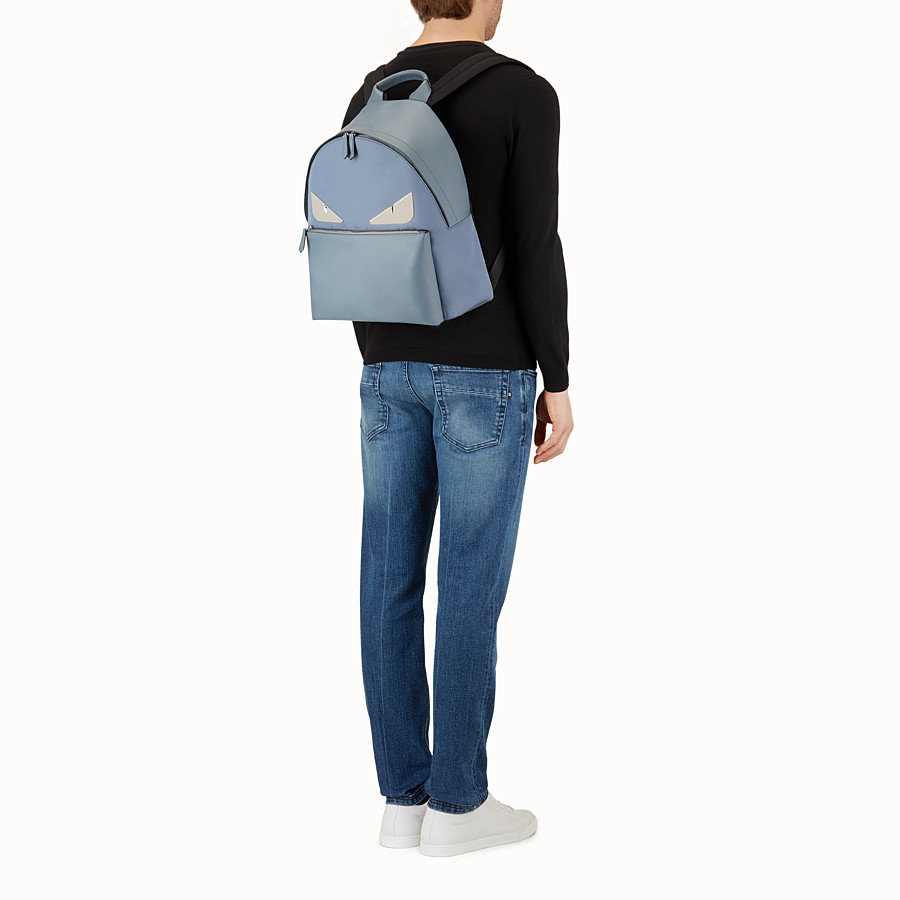 FENDI BACKPACK - Light blue nylon and leather backpack - view 5 detail