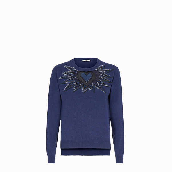 FENDI JUMPER - Blue cashmere and silk jumper - view 1 small thumbnail