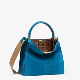 FENDI PEEKABOO X-LITE MEDIUM - Tasche aus Veloursleder in Blau - view 3 thumbnail