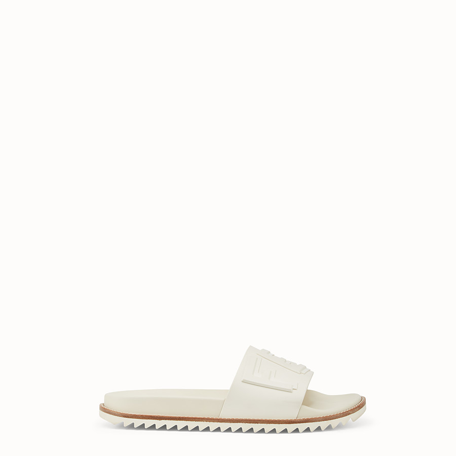 FENDI SLIDES - White rubber slides - view 1 detail
