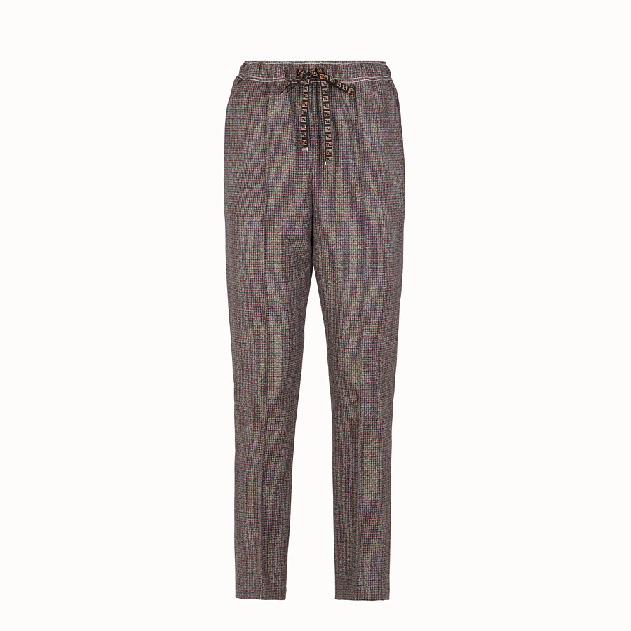 FENDI TROUSERS - Micro-check wool jogging trousers - view 1 detail