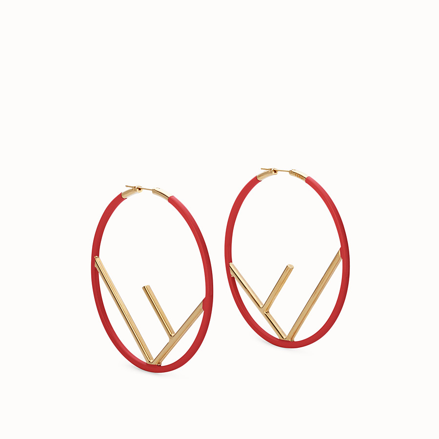 FENDI F IS FENDI EARRINGS - Gold and red coloured earrings - view 1 detail