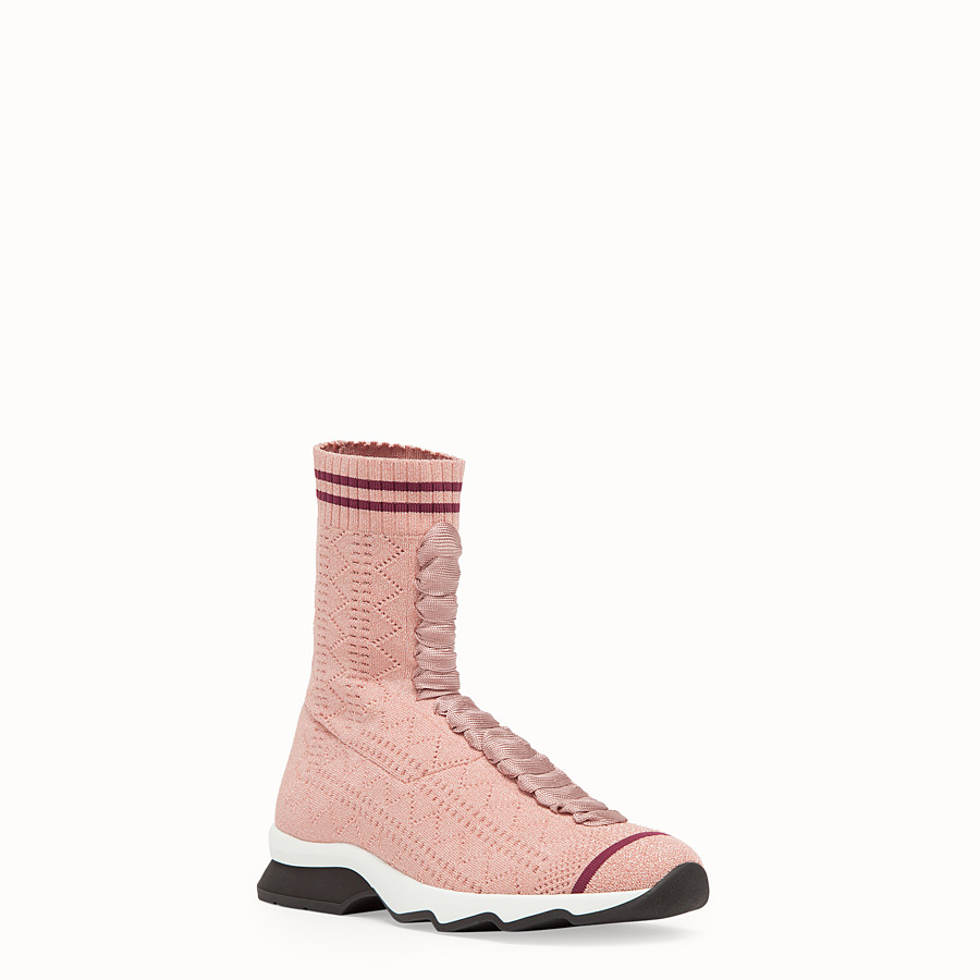 FENDI SNEAKERS - Pink stretch fabric sneaker boots - view 2 detail