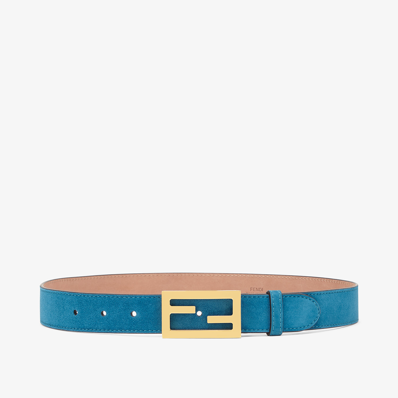 FENDI BAGUETTE BELT - Light blue suede leather belt - view 1 detail