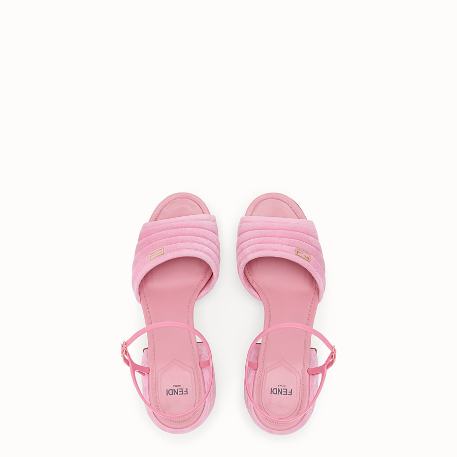 FENDI SLINGBACK - Pink suede sandals - view 4 detail