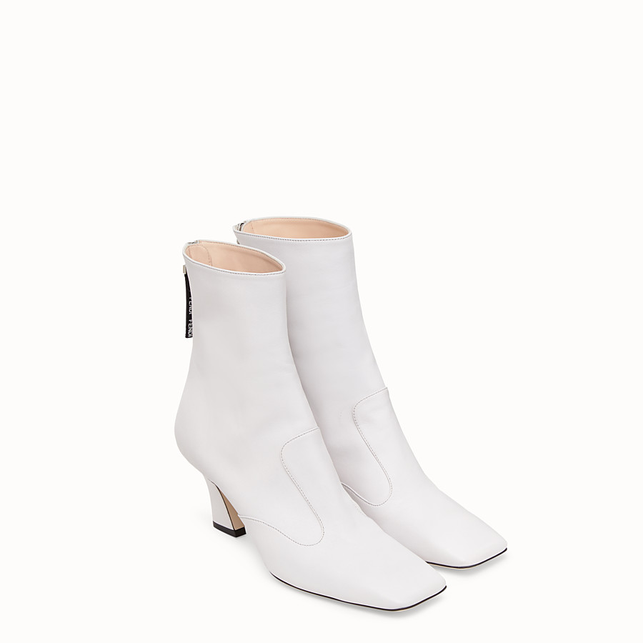 FENDI BOOTS - White nappa leather booties - view 4 detail