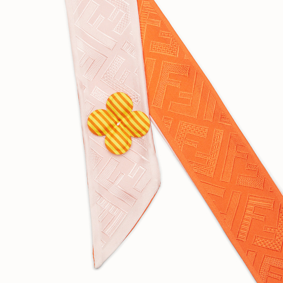 FENDI COLOR-BLOCK WRAPPY - Bandeau in pink and orange silk - view 2 detail