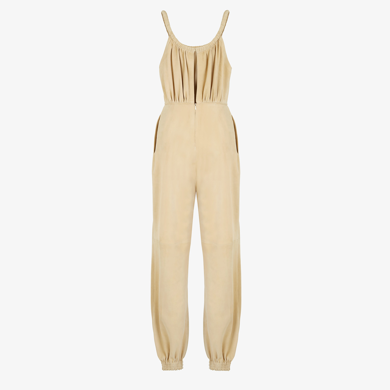 FENDI JUMPSUIT - Beige suede jumpsuit - view 2 detail