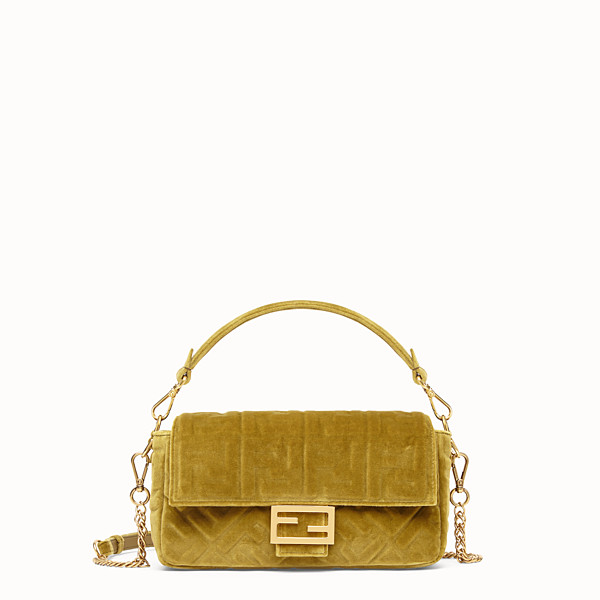 FENDI BAGUETTE - Yellow velvet bag - view 1 small thumbnail