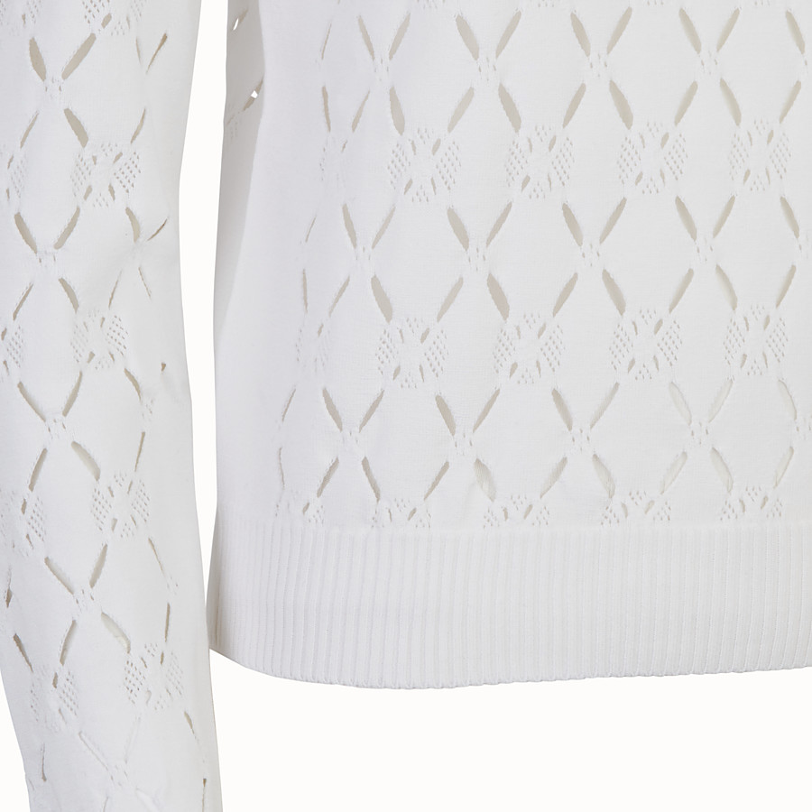 FENDI PULLOVER - White fabric sweater - view 3 detail