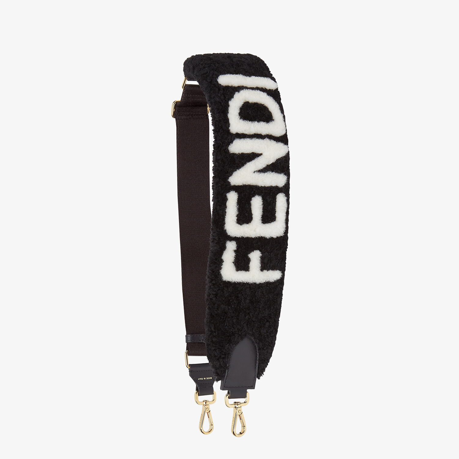 FENDI STRAP YOU - Black sheepskin shoulder strap - view 1 detail