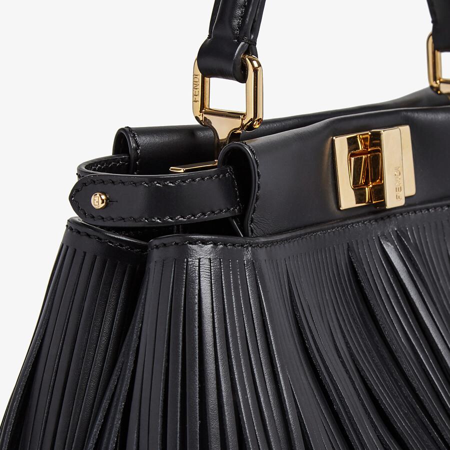 FENDI PEEKABOO ICONIC MINI - Black leather bag with fringes - view 6 detail