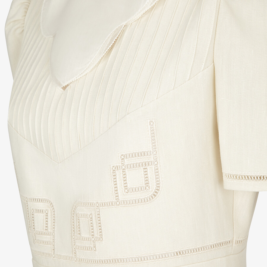 FENDI DRESS - White linen dress - view 3 detail
