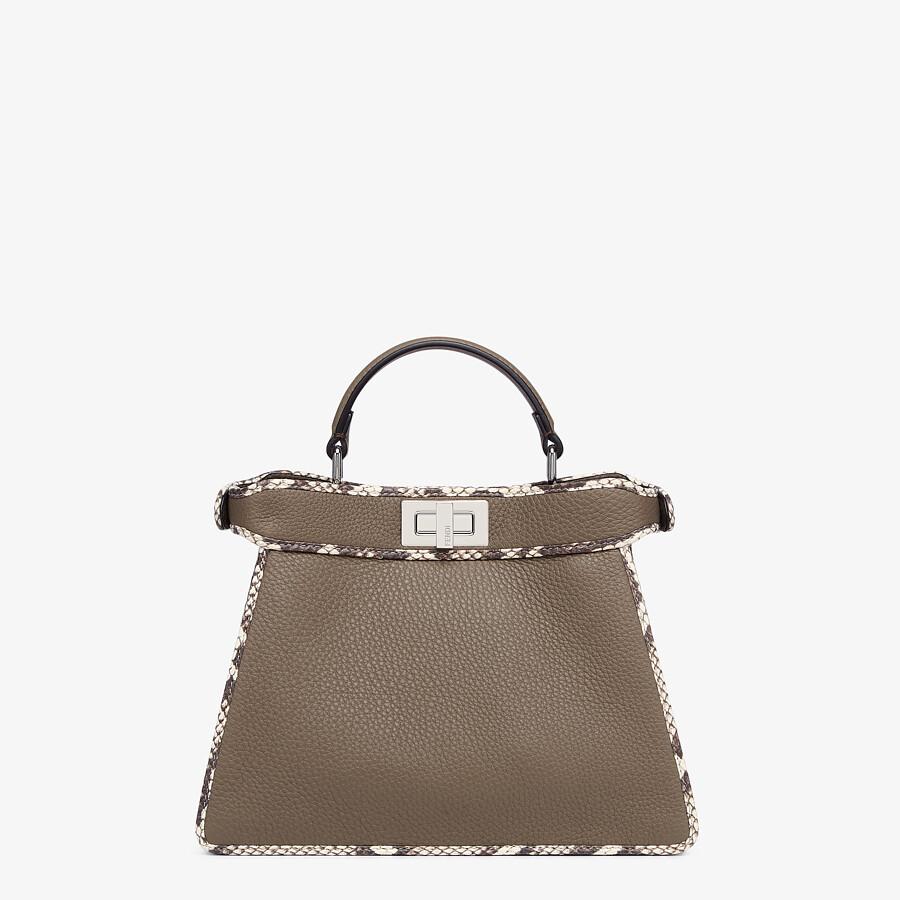 FENDI PEEKABOO ISEEU SMALL - Gray full grain leather and elaphe bag - view 3 detail