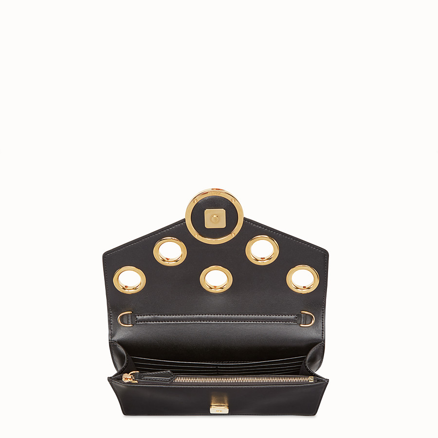 FENDI WALLET ON CHAIN - Balck leather mini-bag with exotics details - view 4 detail