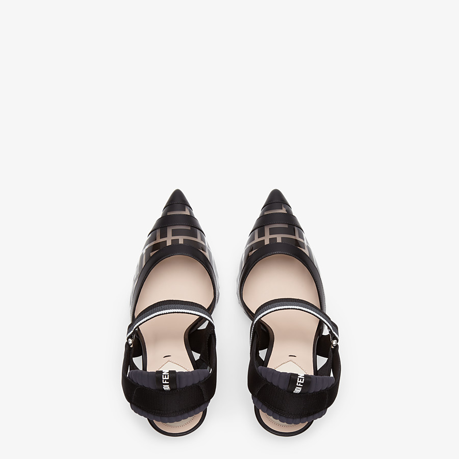 FENDI SLINGBACKS - Slingbacks in PU and black leather - view 4 detail
