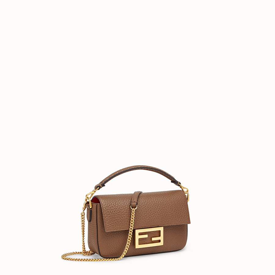 FENDI MINI BAGUETTE - Brown leather bag - view 2 detail