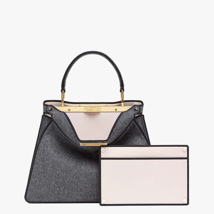 FENDI MEDIUM PEEKABOO ISEEU - Gray flannel bag - view 4 detail