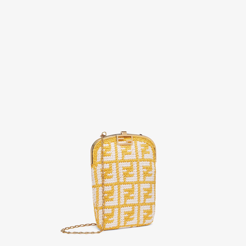 FENDI BAGUETTE PHONE BAG - FF crochet fabric mini-bag - view 2 detail